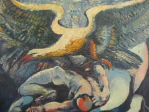 original oilpainting of trong man overcome by giant swan
