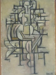 Late Cubism Style Oil Painting. A Signed Original