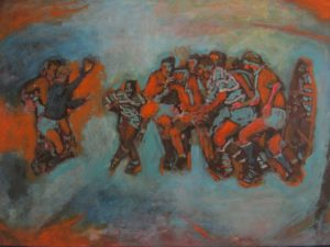 Original acrylic painting of soccer game