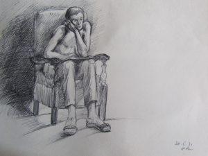 artist sketching himself in mirror