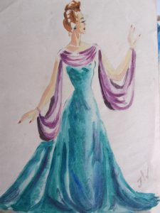 40's fashion dress original signed design painting