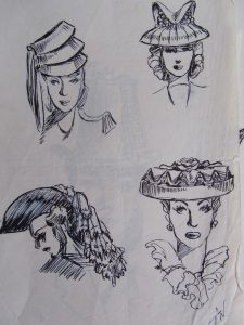 Original Art by John Woodcock 1927-2017 40's Hat Ideas