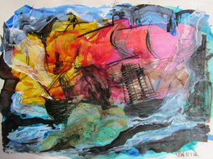 signed painting of ships at stormy sea