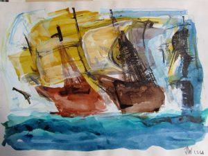 original signed painting of windy ocean scene